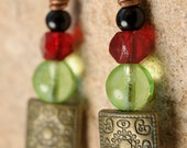 Zen Red and Green Glass Earrings with bronze beads  Red Glass Light Green Beads Copper Pendientes