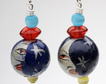 Moon Hand Painted Earrings Blue Red Yellow Beaded Earrings La Luna Gifts under 25