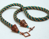 Beaded Kumihimo Necklace in Copper and Blue Seed Beads by JKAlvarez.  Item 1150