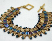 Tila Bead Beaded Bracelet with Seed Beads in Gold and Blue by JKAlvarez.  Item 2112