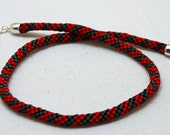 Kumihimo Braided Necklace in Red with Green by JKAlvarez.