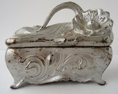 Reserve for Jennifer-Vintage Trinket Box- Chippy, Ornate, Silver