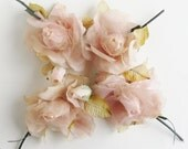 Vintage Millinery Flowers- Soft pink, Set of Four