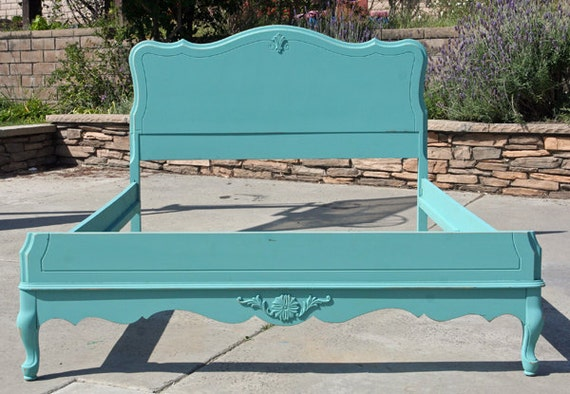 Vintage Chic Double Full  Bed Headboard and Foot board and Siderails Lady Blue By Foo Foo La La