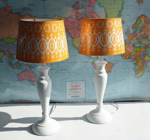 2 Small Vintage White Bedside Lamps with Yellow Shades By Foo Foo La La