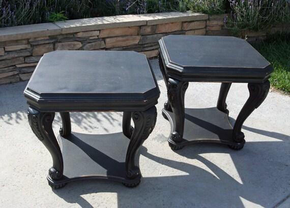 2 Vintage Side Tables Nightstands Painted in Night Black by Foo Foo La La