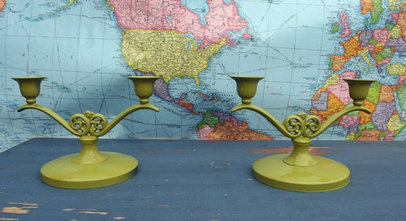 Vintage Chic Hand Painted Candle Holders In Olive By Foo Foo La La
