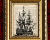 Vintage Art Print 8x10 recycled upcycled Antique 1880 Book Page  Pirate SHIP ENGRAVING  Dictionary Art Print n109