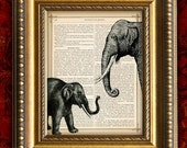 Vintage Art Print ELEPHANT Dictionary Art Print recycled upcycled Antique VIntage Book Page art print