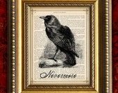 RAVEN NEVERMORE Vintage Art Print 8x10 on Antique 1881 Book Page or Dictionary Page