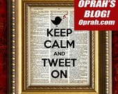 KEEP CALM and TWEET On Vintage Dictionary Art Print Upcycled Book Page Art Print 8x10