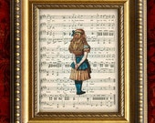 ALICE In WONDERLAND Antique Sheet Music Print Nursery Decor Home Decor Wall Decor 8x10
