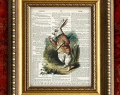 ALICE In WONDERLAND Upcycled Vintage Art Print on Book Page Alice The White Rabbit on Antique Book Page Art Print Dictionary Print 8x10 wc