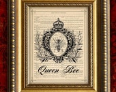 QUEEN BEE Dictionary Art Print French VIctorian Home Decor Wall Decor Book Page Art Print 8x10