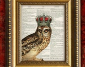 OWL w/ CROWN Print Dictionary Page Print Home Decor Wall Art Antique Book Page Print 8x10