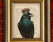 Vintage Dictionary Art Print RAVEN w/ CROWN 1 Art Print on Antique Book Page Art Print 8x10 Wall Decor
