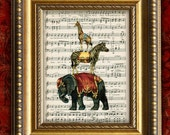 VIntage CIRCUS ANIMALS Tower Home Decor Wall Decor Art Print on Antique Sheet Music Page 8x10 Upcycled Recycled Art Print