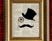 MUSTACHE MAN VIntage Art Print Book Page Art Print 8x10 Recycled Upcycled Dictionary Art Print
