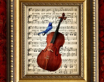BLUE BIRD on CELLO Vintage Color Art Print 8x10 on Antique Sheet Music Page
