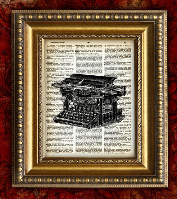 TYPEWRITER Vintage Art Print on 8x10 on Antique 1883 Book Page OR Dictionary Page