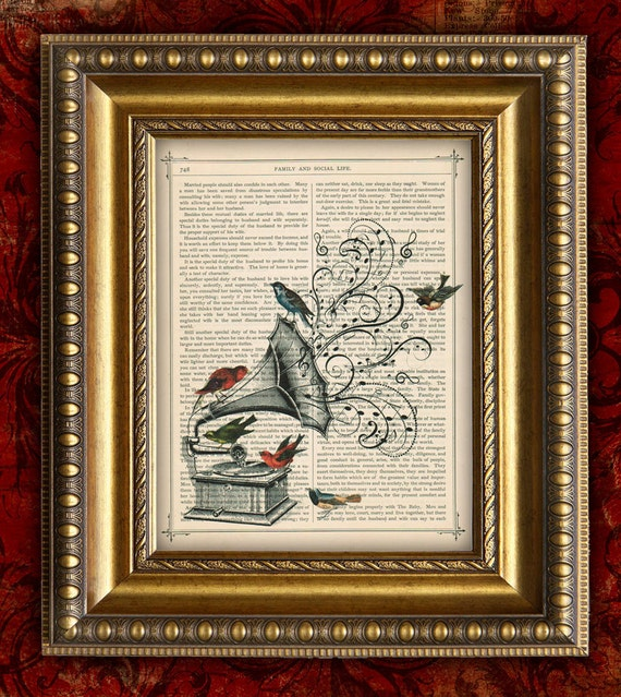 DIctionary Art Print Birds Victorian Gramophone VIntage Art Print on Book Page art print On DIctionary Page art print 8x10