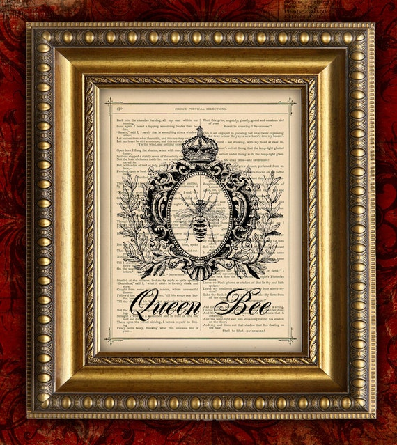 Items Similar To Queen Bee Dictionary Art Print French Victorian Home Decor Wall Decor Book Page