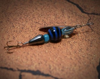 Fishing Lure Blue and Black Glow in the Dark