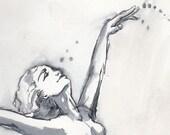 """Watercolor Sketch """"Mermaid Jump"""""""
