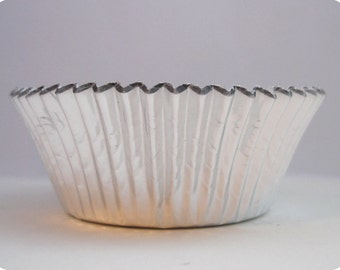 45 Silver Foil Cupcake Liners Baking Cups