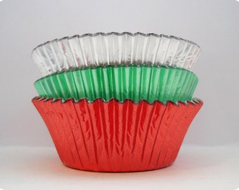 45 Vintage Christmas Trio Foil Cupcake Liners Baking Cups