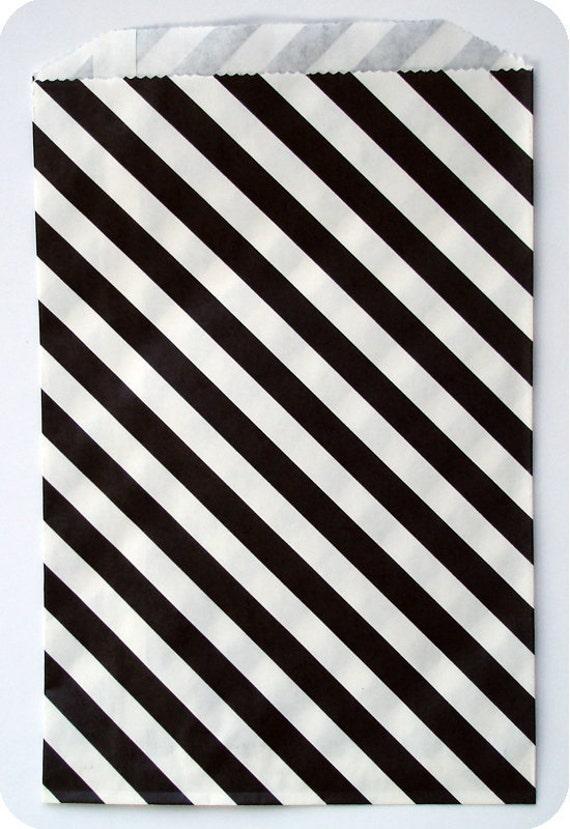 10 Black Stipe Kraft Paper Bags