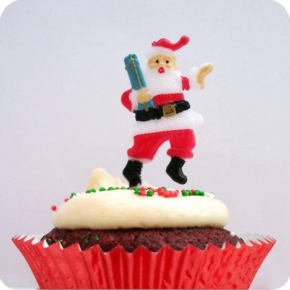 12 Santa Cupcake Picks Cake Toppers