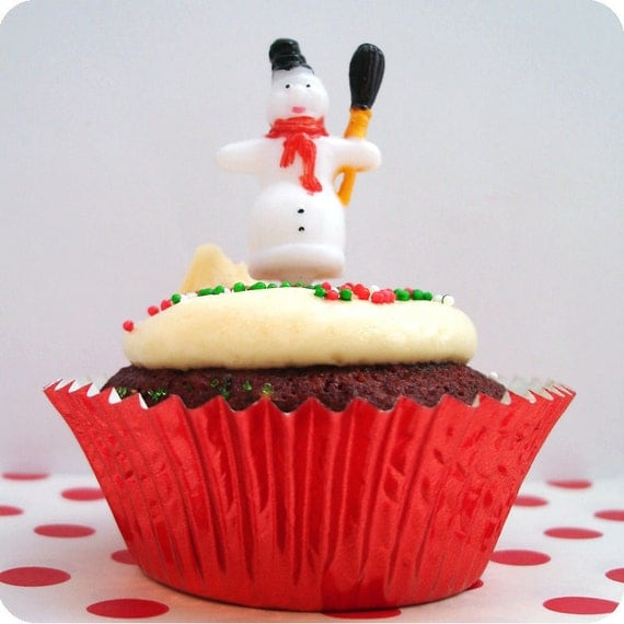12 Snowman Holiday Cupcake Picks Cake Toppers