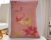 Pretty pink & gold cushion cover with asian floral design