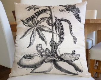 Ivory silk dupion cushion cover with gorgeous illustrated print