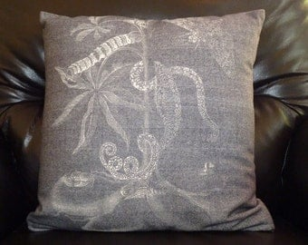 Soft grey cushion cover with quirky print - Winter warmth in a cushion