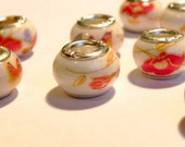 8 Orange and Gold Oriental Themed Ceramic Spacer Bead - hand painted