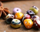 Handmade lampwork glass beads - SRA - Autumn colors, by MayaHoney