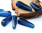 Royal Blue czech glass beads - long squared teardrops 27x10mm - 6Pc - 160
