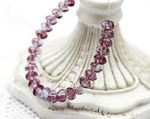 Violet amethyst czech glass beads - gemstone cut spacers - 3x5mm - 50 Pc