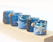 Lampwork glass beads blue handmade pillow set - SRA - Sea color, beachy, starfish and shells