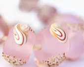 Pink Lampwork beads, artisan lampwork beads, etched, Seaglass look, Beach beads, SRA beads, by MayaHoney
