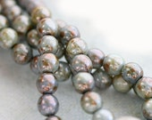 Czech beads, Grey Picasso beads, glass round spacers, druk - gray, antique rustic look - 5mm - 40Pc - 038