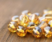 Amber yellow Picasso Czech Glass beads - round cut, honey, fire polished - 10mm - 10Pc - 0250