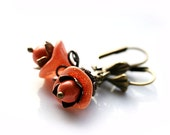 Coral orange flower earrings - cute and lovely, spring floral fashion