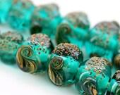 Lampwork beads Organic teal green handmade glass beads set, ocean color - SRA - beach, shells