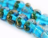 Handmade Lampwork beads, aqua blue, glass beads, sea ocean organics, SRA, by MayaHoney