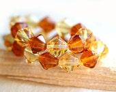 Amber topaz Czech Glass bicone beads mix, honey yellow beads, bicone beads - 8mm - 20Pc - 1284