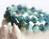 Dark teal, blue czech glass beads, bicones - 6mm - 30Pc - 0119