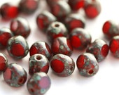 Dark Red beads, Czech glass beads, picasso beads, round cut, fire polished, 6mm - 30Pc - 2839